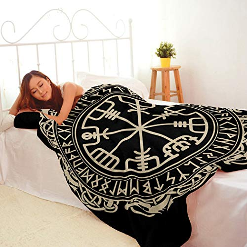 Black Blanket,Plush And Warm Home Soft Cozy Portable Fuzzy Throw Blankets For Couch Bed Sofa,Black Celtic Viking Magical Runic Compass Vegvisir Circle Norse Runes Dragons Tattoo,50'x60'
