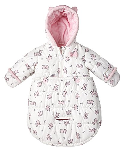 London Fog Newborn Infant Baby Girl Boy Puffer Carbag Pram Bag Snowsuit Bunting - Pink (0/6 Months)