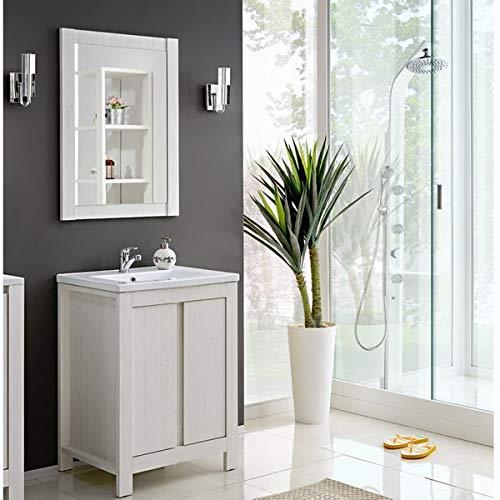 Jadella badkamermeubel 'Fabian II 60' 3 TLG badkamerkast 60 cm spiegel witte pijnboom landhuis