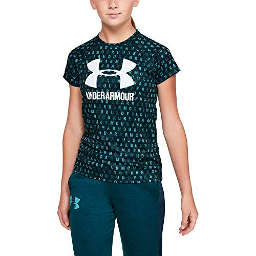 Under Armour Girls' Big Logo Tee novelty short sleeve, Tandem Teal//Moonstone Blue, Youth X-Small