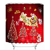 Beydodo Cortina de Ducha Navidad,Papá Noel Ciervos Árbol de Navidad Regalos y Fuegos Artificiales...