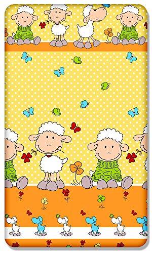 100% Algodón Sábana Ajustable Con Estampado Diseño para Bebé Cama Junior 160x70CM - Oveja Amarillo