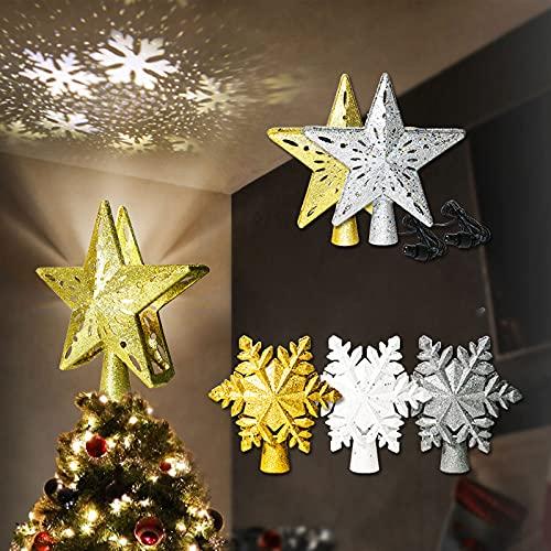 YAOUFBZ Luces de Navidad,Topper de árbol de Navidad con Luces,Topper de Star...