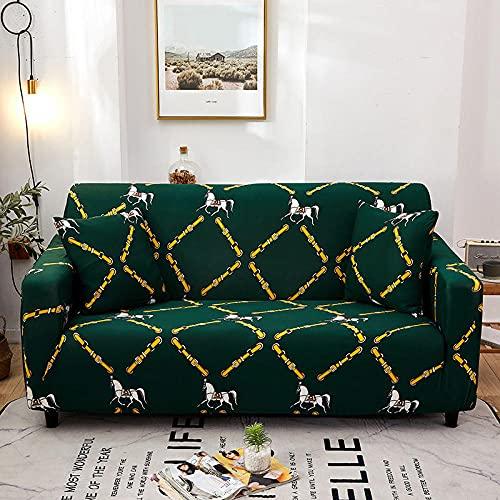 Funda Sofa Elastica 3 Plazas Protector para Sofás Antideslizante Funda Longue Chaise Cubre Sofa de Poliéster Decorativas Cubierta para sofá Ajustables - Caballo Verde