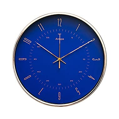 "Arospa Luxury Modern 12"" Silent Non-Ticking Wall Clock with Rose Gold Frame (Royal Renaissance Blue)"