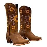 NYYY Botas de mujer de talla grande con tacón grueso, redondas, con puntera bordada, botas cortas para mujer, zapatos de tacón alto, zapatos informales para mujer, caqui, 35 EU
