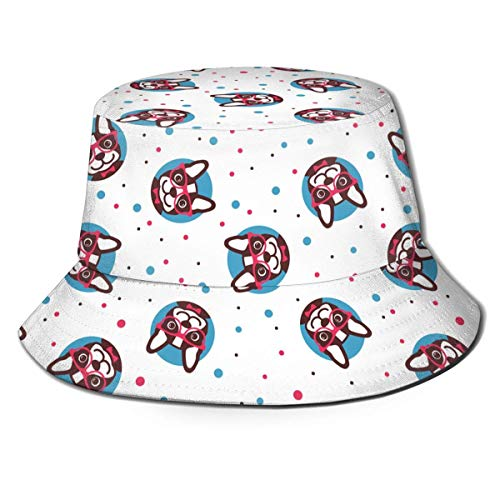 Sombreros de Cubo Bulldog francés con Gafas Sombreros de Sol de ala Ancha para Mujeres y Hombres, para protección Solar