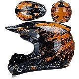 WYWZDQ Casco de moto fuera de carretera casco de ciudad, casco de bicicleta de montaña, creativo personalidad, guantes gafas (4 conjuntos) regalo para niño, flores naranja (S)