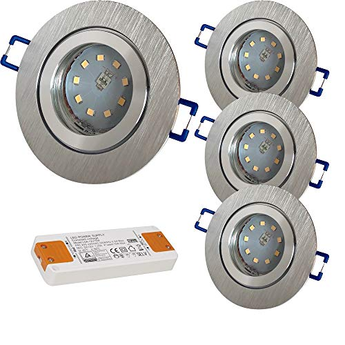 LED Bad Einbauleuchten 12V inkl. 4 x 5W SMD LM Farbe BiColor IP44 LED Einbaustrahler Neptun Rund 3000K mit Trafo