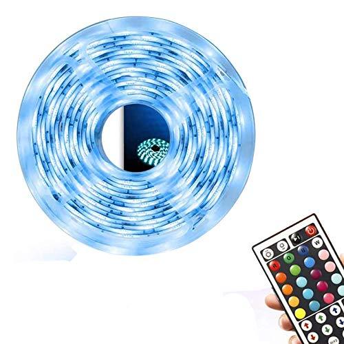 JIXIN Tira de Luces LED a Prueba de Agua 16.4Ft 5M Cambio de Color Flexible RGB SMD, 150Leds Kit de Tira de Luces LED con 44 Teclas Control Remoto por Infrarrojos