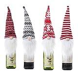Lot de 4 couvercles pour bouteille de vin avec barbe blanche pour bouteille de vin de Noël
