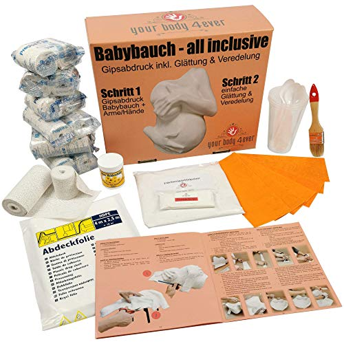 ALL-INCLUSIVE | Babybauch Gipsabdruck-Set inkl. Glättung & Veredelung | 1A Ergebnis mit Detailanleitung + Profimaterial