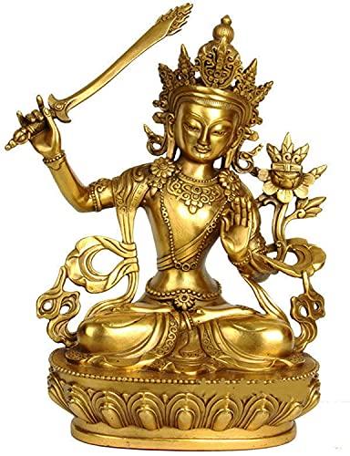 HTian Estatua de Buda de Manjushri, estatua de latón con adornos de sabiduría de Dios escultura, decoración religiosa en el hogar
