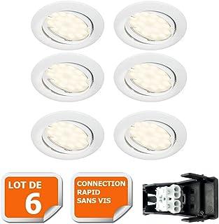 LOT DE 6 SPOT LED ENCASTRABLE COMPLETE ORIENTABLE BLANC AVEC AMPOULE GU10 230V eq. 50W, LUMIERE BLANC NEUTRE