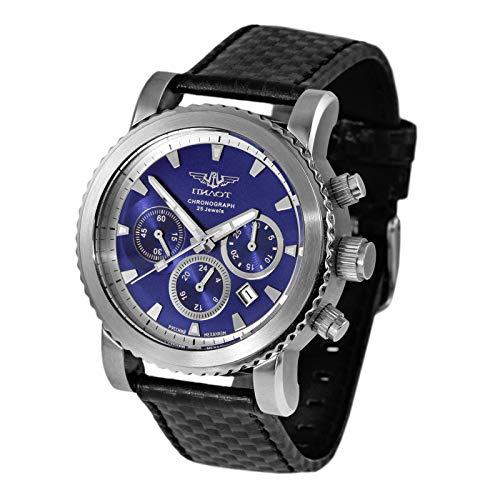 Reloj cronógrafo Poljot 31681, cronómetro, reloj mecánico de pulsera ruso P-Sports 43.S Sport Surfer