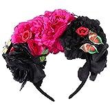 Minkissy, fascia per capelli a forma di rosa messicana, con fiore, teschio, corona, farfalla, ghirlanda, accessorio per cosplay, make-up party (nero rosso)