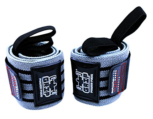 "Grip Power Pads Deluxe Wrist Wraps 13"" Long (1 Pair /2 Wraps) for Weight Lifting Wrist Support Cotton Wraps Gym Bandage Straps for Men & Women - Premium Quality & PRO Rubber (Gray, 13"" Inches)"