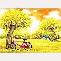 大人のための5Dダイヤモンドペインティングキットナンバーキットによる秋の風景自転車ダイヤモンドアートフルドリルDIY装飾クラフト、16x20インチでペイント