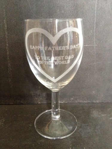 Happy Father's Day to the Best Dad in the World Wine Glass with heart by Chichi Gifts
