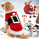 Idepet Santa Dog Costume Christmas Cotton Pet Clothes Winter Hoodie Coat Clothes Dog Pet Clothing Chihuahua Yorkshire Poodle (xs)