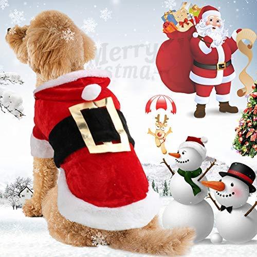 Idepet Costume da Cane di Babbo Natale Vestiti di Animali di Cotone di Natale Vestiti di Cappotto di Felpa con Cappuccio di Inverno Vestiti di Animali da Compagnia Barboncino di Chihuahua Yorkshire
