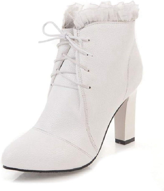 Btrada Btrada Btrada Woherrar High klackar Ankle stövlar Pointed Toe Side Zipper Stilettos Sweet Lace Flanging Dress Booslipss  autentisk kvalitet