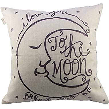 HOSL I love You to the Moon and Back Square Decorative Throw Pillow Case Cushion Cover 17.317.3 Inch (44CM44CM)