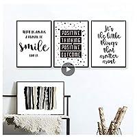 黒と白のインスピレーションを与えるポジティブな笑顔の引用キャンバス絵画保育園のポスタープリント壁アート画像キッズルームの家の装飾-40X60cmx3 フレームなし