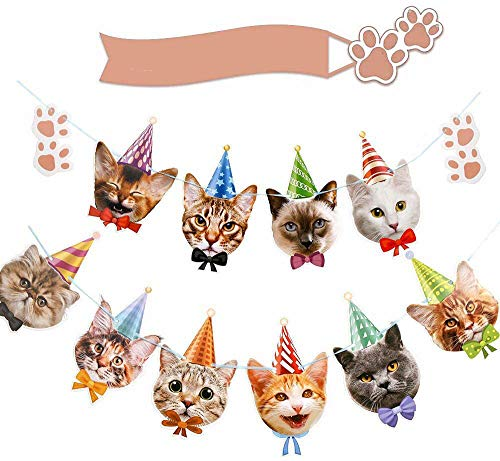 DIYASY Cat Birthday Banner, Birthday Garland Cat Theme Party Bunting Decoration Baby Shower Party Supplies (cat)