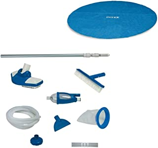Intex 18 Ft Round Easy Set Solar Cover and Deluxe Pool Maintenance Kit w/Vacuum