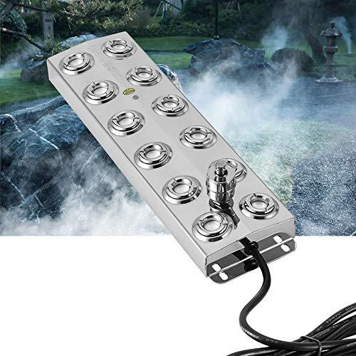 4YANG Mist Maker - Humidificador ultrasónico de 12 Cabezas con Fuente de alimentación a Prueba de Agua, nebulizador de Acero Inoxidable 304 para jardinería, Estanque, hidroponía, Paisaje (con CE)