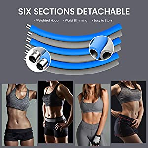 IENIN Exercise Hoop Rope for Adults Tik Tok Fitness 6 Sections Matte Soft Sponge Removable Adjustable Design Professional Figure Fitness Exercise Home Workout Loss Weighted Hoop Fun for Family