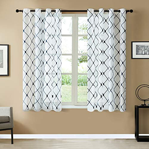 Top Finel White Short Sheer Curtains 45 Inch Length Navy Embroidered Diamond Grommet Window Curtains for Living Room Bedroom, 2 Panels