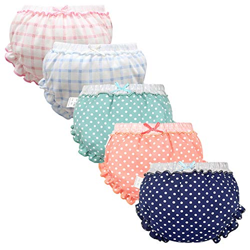 Baby Girls Bloomers Newborn Infant Toddler Diaper Covers Briefs Underwear Set with Cotton Bow Ruffle for Kids Girls 0-4T (0-12 Months, 5-Pack-A)