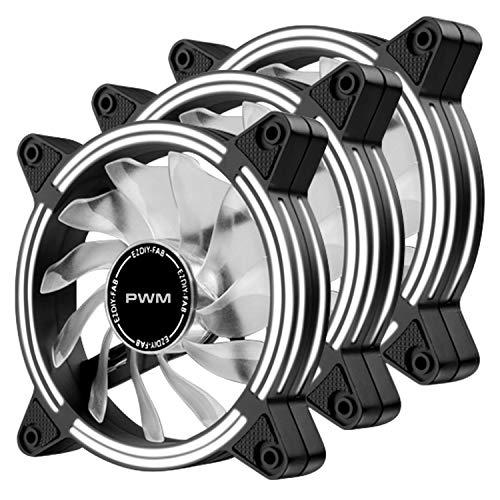 EZDIY-FAB Ventilador de Caja de LED Doble Marco silencioso PWM de 120 mm para Cajas de PC, refrigeradores de CPU y radiadores, Blanco 3Pack