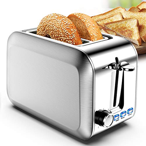 Toaster 2 Slice Best Rated Prime Bread Stainless 2 Slice Toaster Wide Slot with Bagel Function & Removable Crumb Tray