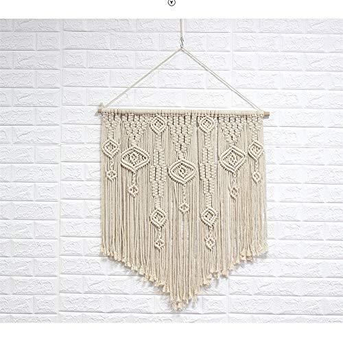 FDCVF wandhanger, geweven tapijt Beige deur gordijn handgemaakte macrame kleine kunst Boheemse muur kunst geometrisch patroon chique kwast cadeau aan de buurman