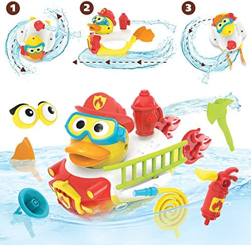 Yookidoo Jet Duck Firefighter Bath Toy with Powered Water Hydrant Shooter Sensory Development product image