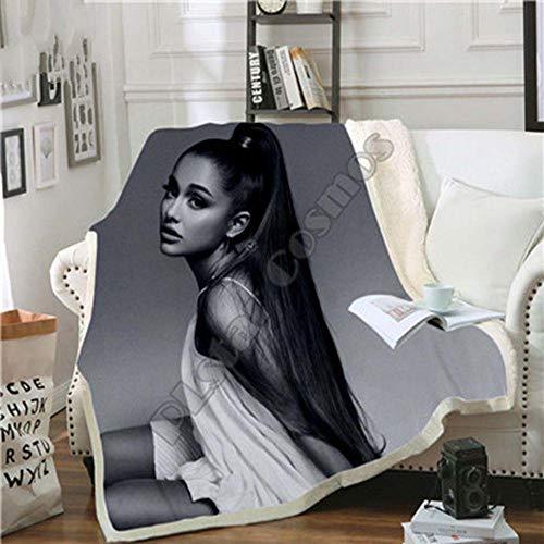 Yoin Celebrity Ariana Grand Design Decke Plüsch 3D Gedruckt für Erwachsene Sofa Sherpa Fleece Tagesdecke Wickeldecke Mikrofaser -7, Multi, 130x150cm