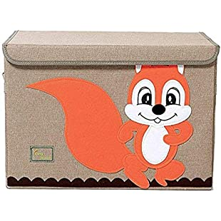 TruReey Large Storage Chest For Kids, With Lid, Foldable Storage Container, Collapsible Sturdy Toy Storage Bins (Squirrel)