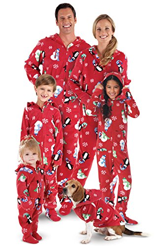 PajamaGram Hooded Penguin Matching His-Hers Pajamas