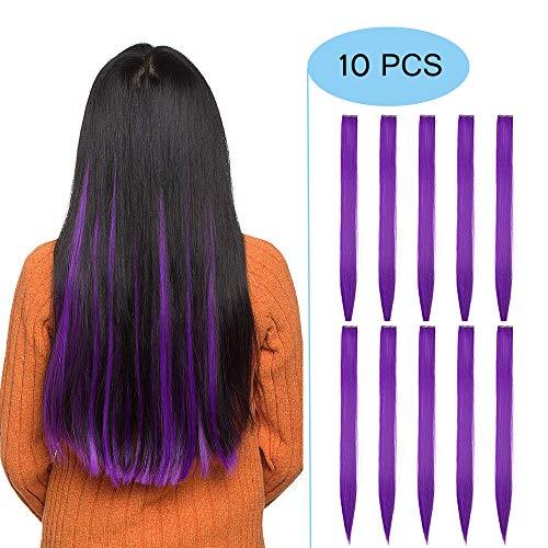 Extension Capelli Colorati Clip in Hair Lisci Finti 10 Ciocche da Donna Bambina Cosplay Halloween Festa Posticci Lunghi 50cm Pesa 80g, Viola Scuro