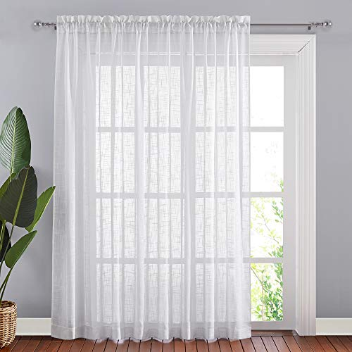 """NICETOWN White Linen Sheer Curtains Extra Wide 100"""" for Sliding Door, Semitransparent Privacy with Light Filter Room Divider for Patio Door/Bedroom, 84"""" Length for Patio Door, 1 Panel"""