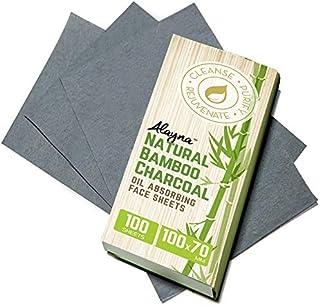 (1PK) Oil Blotting Sheets- Natural Bamboo Charcoal Oil Absorbing Tissues- 100 Pcs Organic Blotting Paper- Beauty Blotters ...