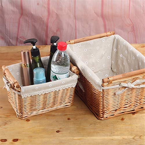 Jianghuayunchuanri Fabric Storage Baskets with Two Sets Of The Basket Handle And Lined Wicker Basket for Household Storage (Color : Natural, Size : 2 pieces)