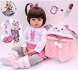Antboat Muñecas Reborn Bebé Niña 18 Pulgadas 48cm Silicona Suave Vinilo Calidad Realista Hecho a Mano Reborn Niña Juguetes de Niño y Niña Chupete Magnético Reborn Doll
