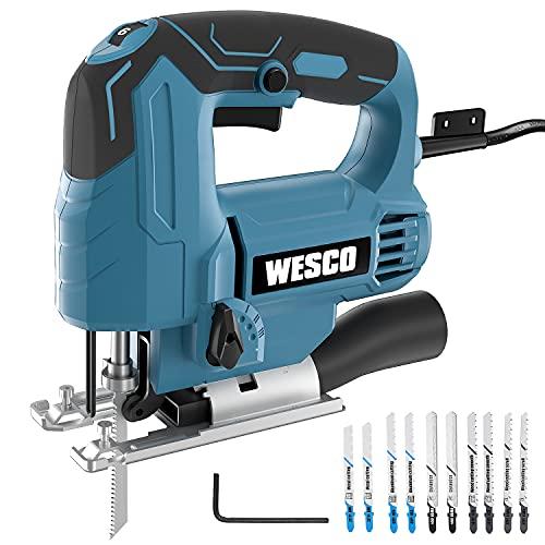Jigsaw, WESCO 4.5 Amp Power Electric Jig Saw 0-3000 SPM, 6 Variable Speed, 4 Orbital Sets, ±45° Bevel Cutting Angle, Adjustable Aluminum Base, 10PCS Blades for Metal PVC Ceramic Wood Cutting/WS3770U
