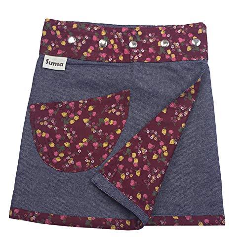 Sunsa Mädchen Rock Minirock Jeansrock Wende-Wickelrock Sommerrock kurz, Mini Jeans Mädchenrock Girls Skirt, 2 Kinder Röcke in einem, Verstellbarer Größe, Kid's Coole Sachen, Geschenk 15703