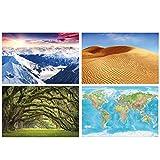 GREAT ART Juego de 4 pósteres XXL con motivos – Paisajes – Alpes Panorama Montaña Desierto Dunas Dunas Allee Relief Mapa del Mundo Decoración Maps-in-Minutes Mural póster de pared 140 x 100 cm