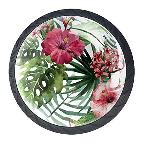 BestIdeas Okrągłe gałki do szuflad 4 opakowania 30 mm uchwyty do wyciągania tropikalne białe kwiaty nadruki używane do sypialni komoda szafka drzwi kuchenne